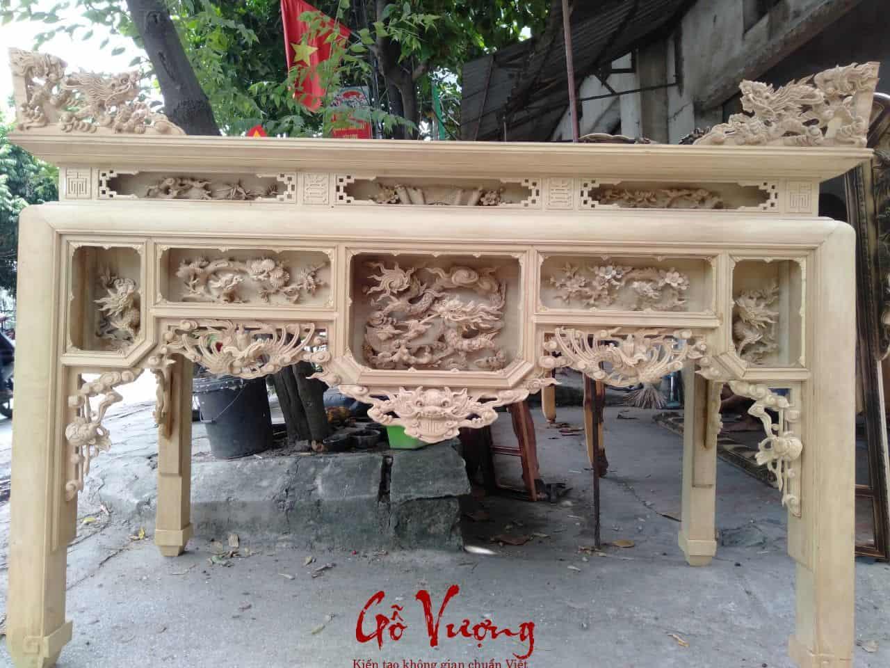 bàn thờ ô sa gỗ dổi hàng kênh bong sắc nét