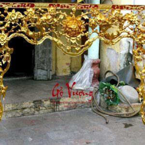 cửa võng thờ tứ linh thếp bạc