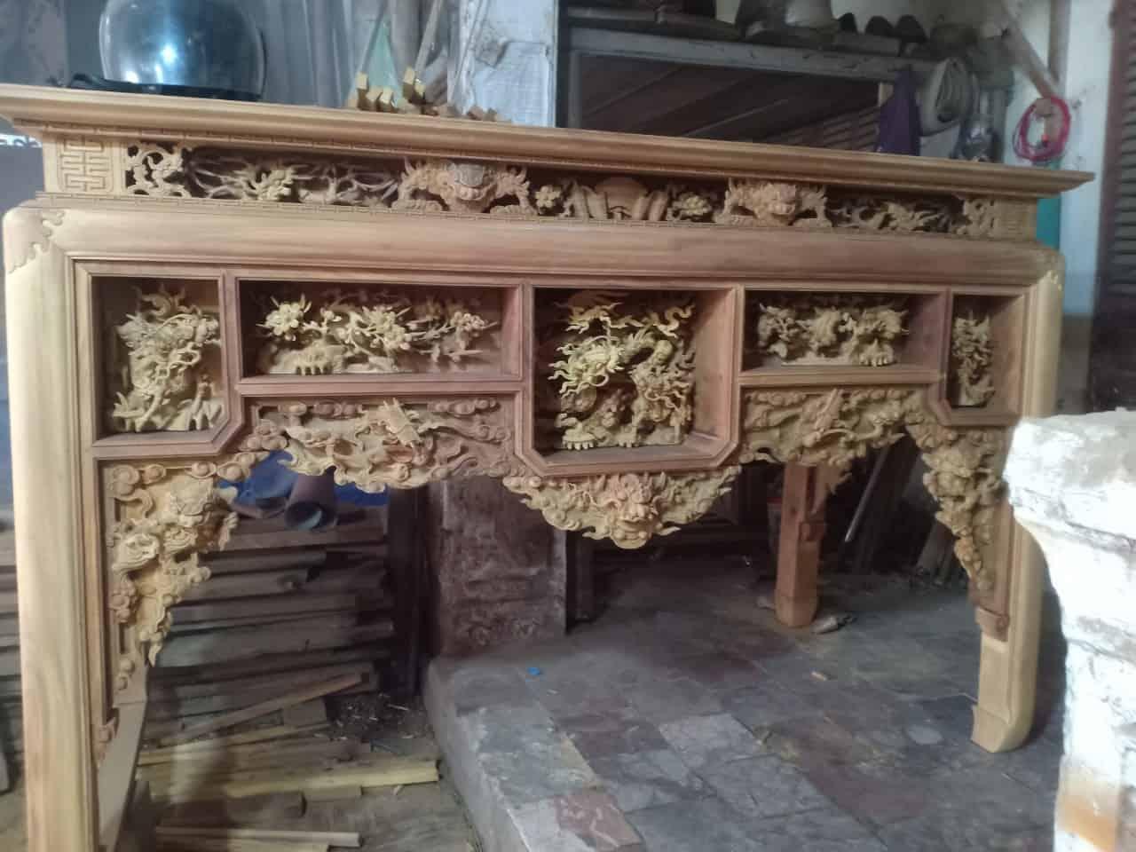 bàn thò ô sa gỗ dổi