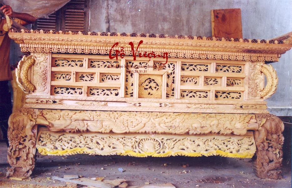 Sập thờ 2 dạ theo kiến trúc thời nhà Nguyễn