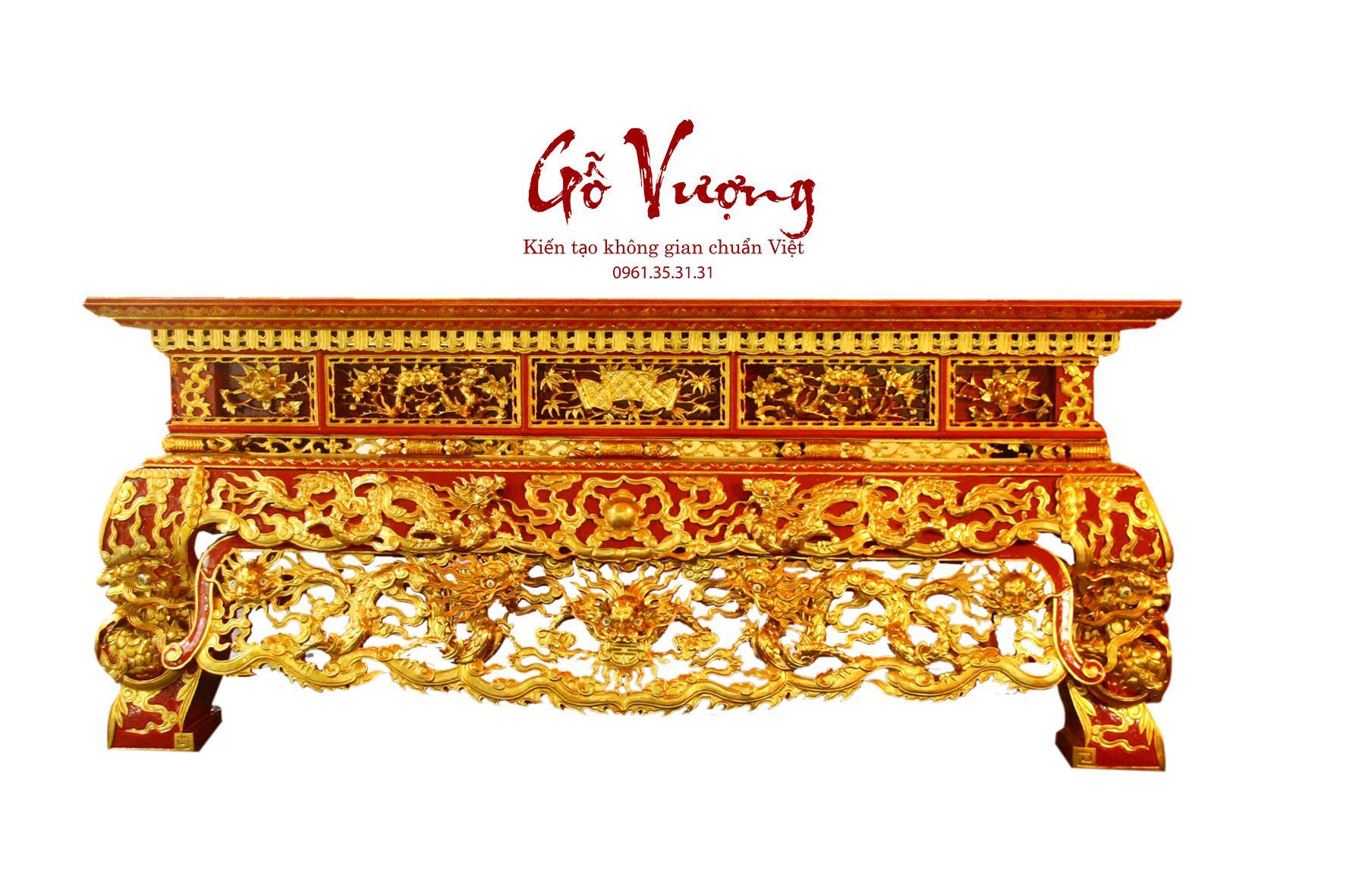 Sập thờ 2 dạ sơn son thếp vàng được thi công tinh xảo bởi công ty Gỗ Vượng Việt Nam