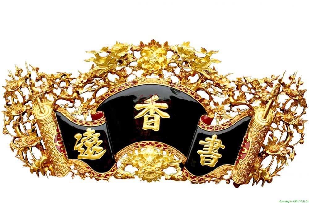 Cuốn thư mai hóa rồng sơn son dát vàng tại công ty Gỗ Vượng