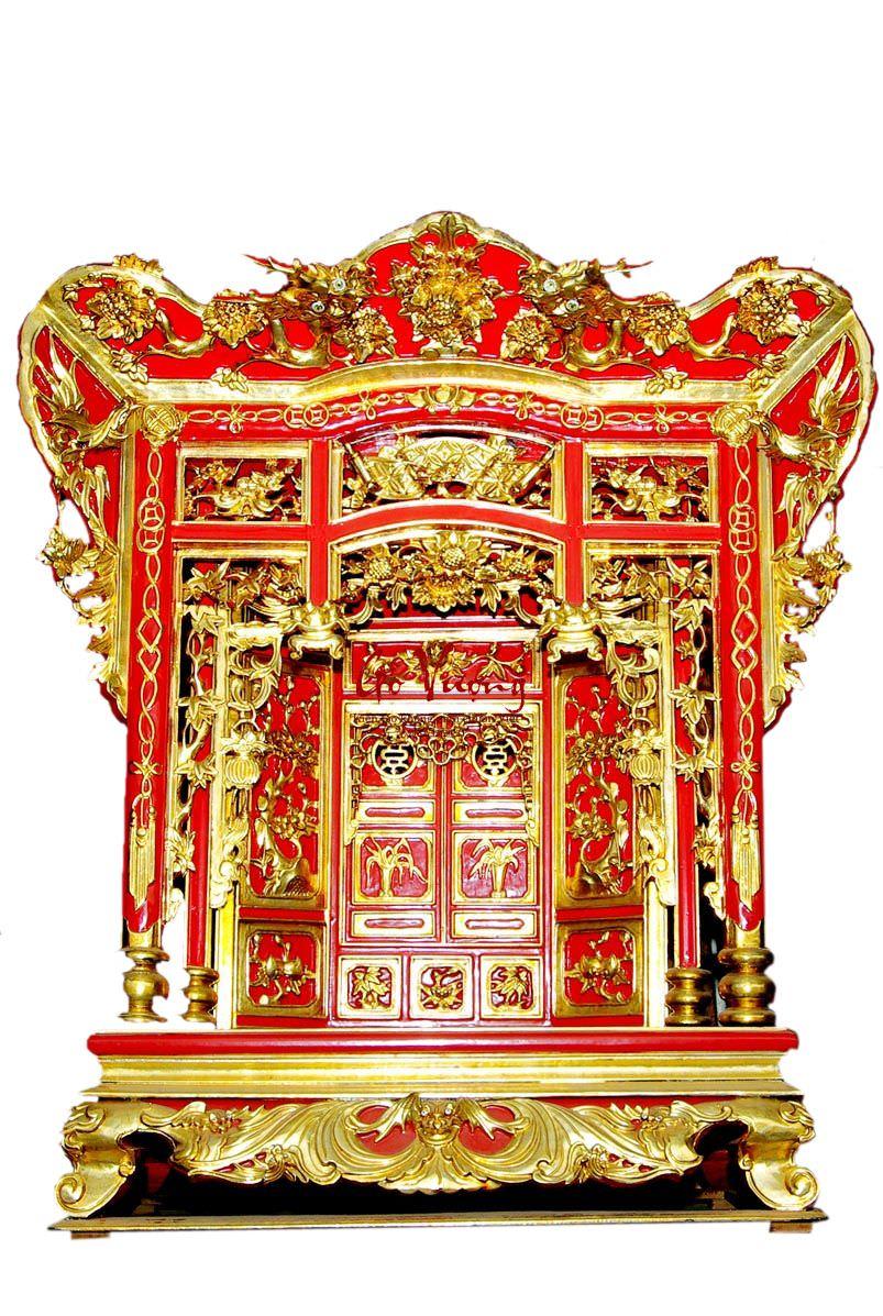 mẫu khám thờ gia tiên sơn son thếp bạc phủ hoàng kim