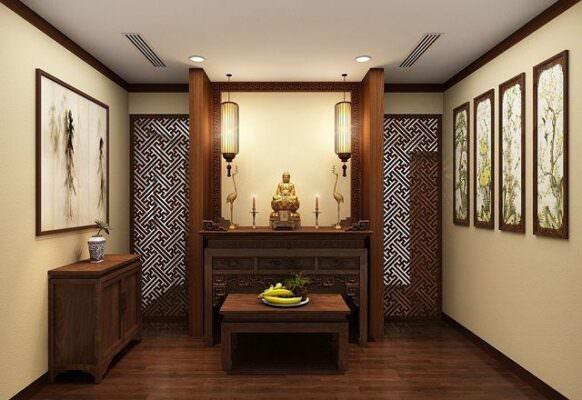 Mẫu tủ thờ gia tiên bằng gỗ hiện đại