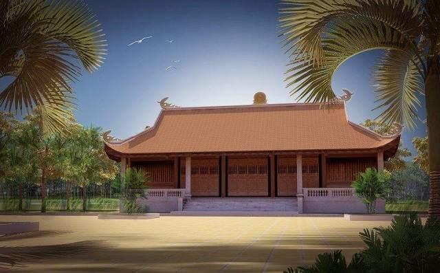 Mẫu nhà thờ tổ tiên 3 gian truyền thống mang lại không gian thờ cúng ấm cúng cho dòng họ
