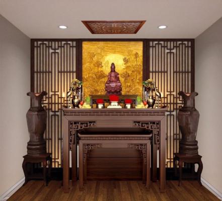 Mẫu bàn thờ Phật đứng sang trọng cho không gian gia đình
