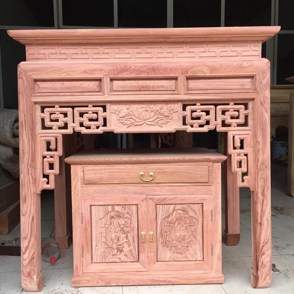 Bàn thờ và tủ thờ gỗ hương đá cao cấp