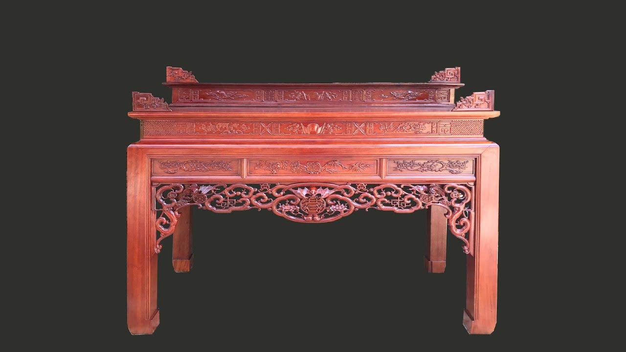 Bàn thờ ngũ phúc tam cấp rất phù hợp với không gian thờ con trưởng bởi đây là mẫu bàn rất rộng