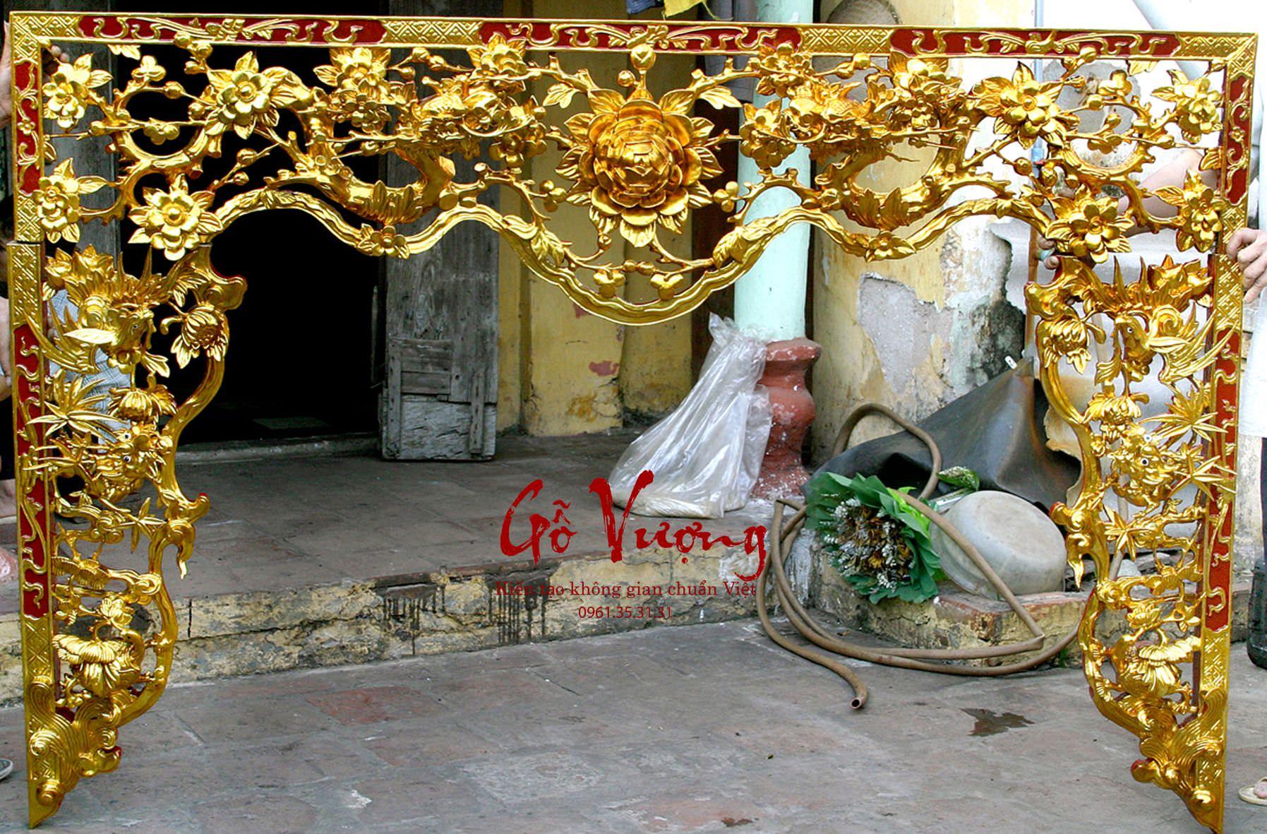 Cửa võng thờ tứ linh hóa sơn son thếp vàng