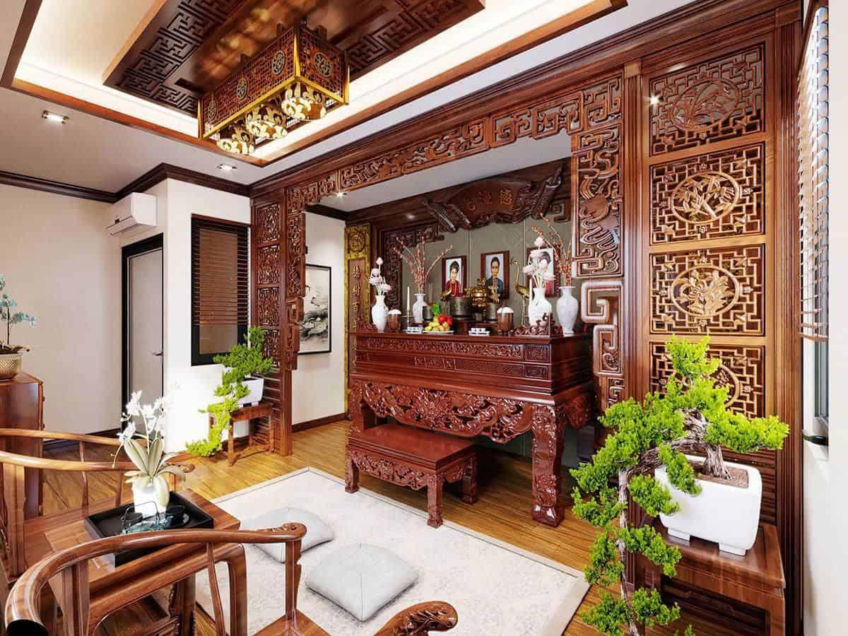 bàn thờ được thiết kế theo đúng không gian truyền thống xen kẽ hiện đại