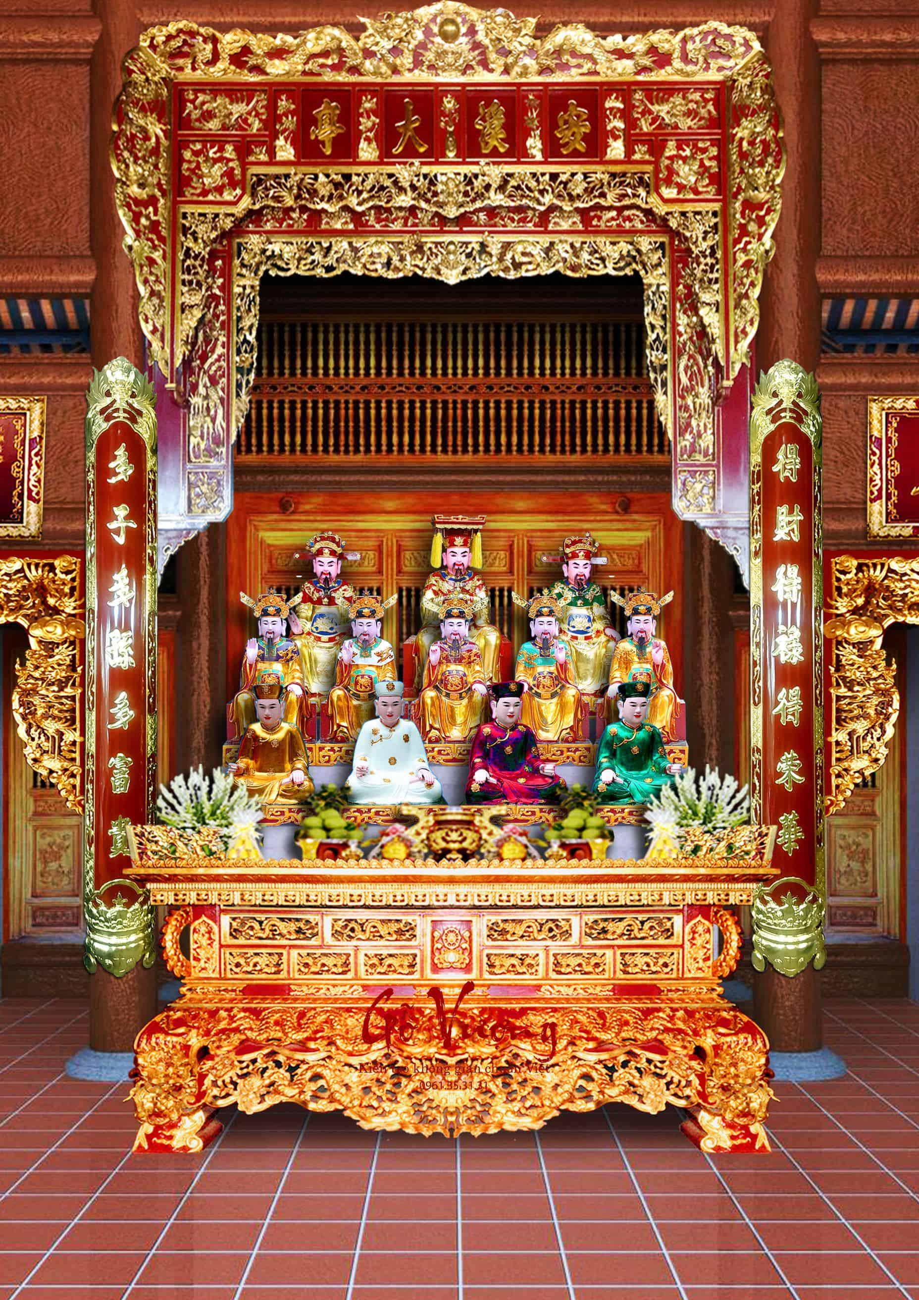 Mẫu phòng thờ trong không gian đền phủ