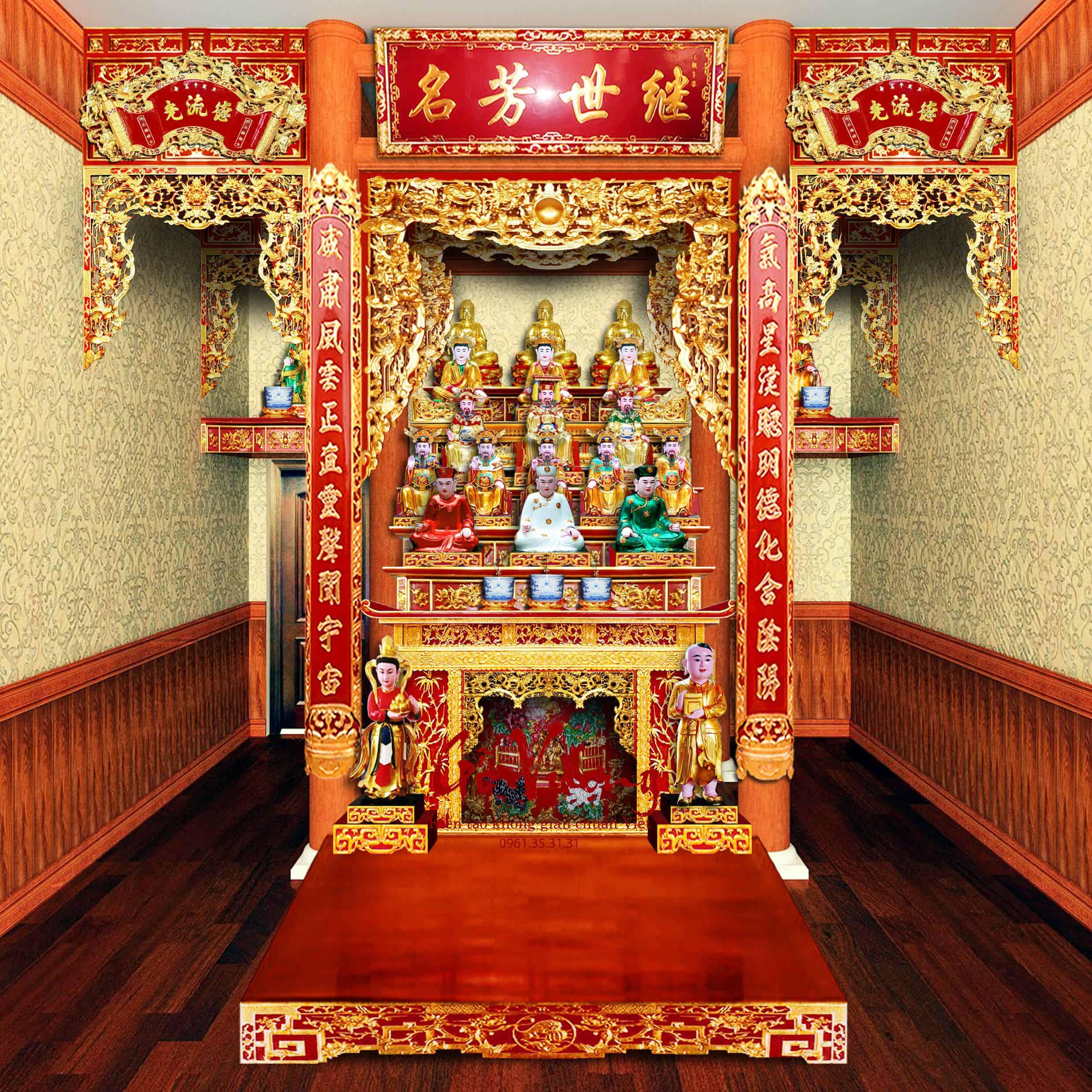 Mẫu thiết kế này dành cho phòng thờ nhỏ nhưng vẫn đầy đủ các ban thờ